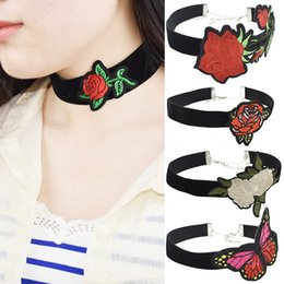 Wholesale Butterfly Flower Rose Heart - Embroidery Choker Necklace Rose Flower Butterfly Chokers Necklace for Women Adjustable Necklaces Chokers Statement Necklaces