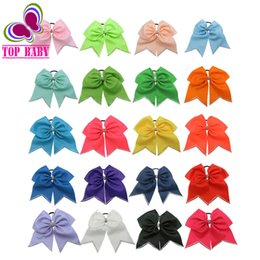"""Wholesale Cheer Tops - Wholesale- 20Colors 8"""" Top Quality Rhinestone Cheer Bow Hair Accessories With Elastic For Lovely Girls"""