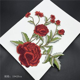 Wholesale Embroidered Cheongsam Dress - 20pcs Peony Flower Sticker Patch For Clothing Patches parches Embroidered Cheongsam Jacket Vintage Ethnic Dress Fabric Patchwork Appliques