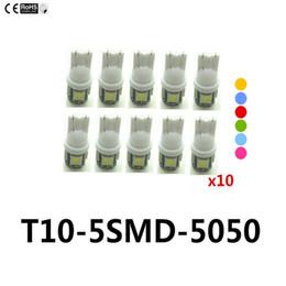 Levou lâmpada luzes roxas on-line-10X T10 5SMD DC 12 V 1 W 5050 5 SMD 192 168 194 W5W branco / azul / vermelho / verde / amarelo / rosa Xenon LEVOU Luz Lateral Wedge Lâmpada Lâmpada Para Carro