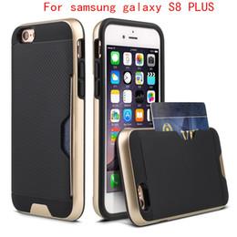 Wholesale Carbon Fiber Cards - For samsung galaxy S8 PLUS J7 prime J5 PRIME For iphone 7 plus Armor case carbon fiber cover with Credit card card