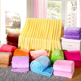 Wholesale Plaid Fleece Fabric - Wholesale- Solid color Fleece Blanket plaid Spring warm Autumn soft blankets throw on Sofa Bed Plane Travel Plaids patchwork 4 sizes B377