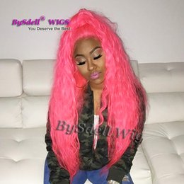 Wholesale curly african american wigs - Synthetic Heat Resistant Lace Front Wig Solid Pink Color Loose Water Curly pelucas Bravo Beauty Curl Hair African American Lace Front Wigs