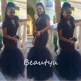Wholesale Short Puffy Tulle Prom Dresses - African Puffy Mermaid Evening Dresses With Sleeves Sheer High Neck Applique Beaded Black Tulle Long Plus Size Women Party Prom Gowns 2017