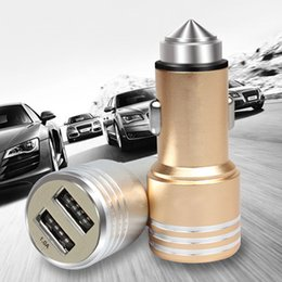 Wholesale E Emergency - Wholesale- 3 in 1 Emergency Mini Safety Hammer Car Window Glass Breaker + 2.5A Dual USB Port Car Charger + Cigarette Lighter E#A