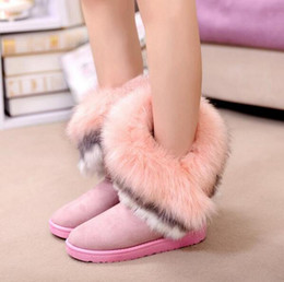 Wholesale Export Shoes - Wholesale-2016 new fashion winter snow boots large wool export imitation fox fur boots shoes women boots free shipping
