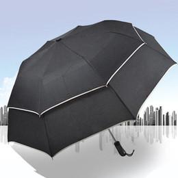 Wholesale Double Golf Umbrella - new fashion Double personality semiautomatic umbrella Creative giant golf business gifts 8 bone 3 folding umbrella