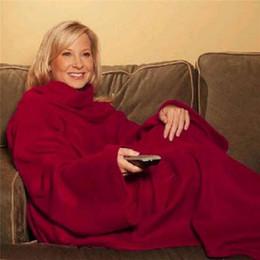 Wholesale Adult Snuggie Blanket - Soft Warm Fleece Snuggie Blanket Robe Cloak With Cozy Sleeves Wearable Sleeve Blanket Wearable Blanket 3 Colors