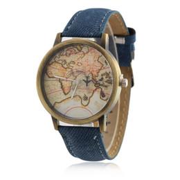 Wholesale Global Leather - Men's Watch 7Color Watchband Fashion Global Travel By Plane Analog Map Denim Fabric Band Quartz Wristwatch Gift for Man Boys Gentlmen