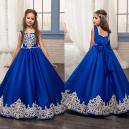 Wholesale Elegant Gowns For Little Girls - 2017 Cute Royal Blue Lace Vintage Flower Girl Dresses with Bow Sash Elegant Kids Communion Birthday Party Gowns for Children Little Girls
