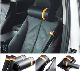Camion tedeschi online-2 pezzi potenza prestazioni bandiera tedesca racing auto camion nero da corsa in fibra di carbonio circolare seggiolino auto cuscino del collo poggiatesta per le corse