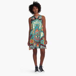 Wholesale Digital Print Vintage Dress - 2017 Vintage Digital Polyester Casual Printing princess skirt Sexy dress in Europe and America ladies dress Free Size