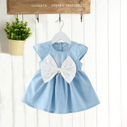 Wholesale Infant Girl Denim Dresses - Korean styles baby girl short sleeve dress New Arrivals o-enck back with bow denim infant girl dress 2 colors