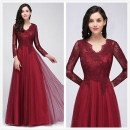 Wholesale Evening Dresses Tull - Real Image V Neck Long Sleeves Lace Evening Dresses Tull Backless A Line Floor Length Formal Party Prom Gowns In Stock CPS721