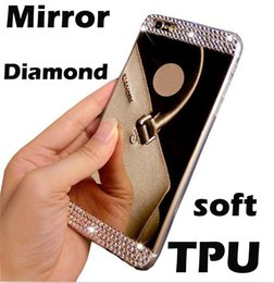 Wholesale Galaxy S4 Soft Cases Diamond - Rhinestone Diamond Mirror Crystal Soft tpu case Luxury Bling Glitter cover For iphone 5 5s 6 6s 7 plus Samsung Galaxy s3 s4 s5 s6 s6 S7 edge