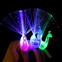 Wholesale 12m Led - 50PCS Led Optical Fiber Lamp Funny Peacock Finger Lamp Toys Children Baby Kids Light-up Toys Novelty Toys