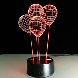 Wholesale Balloon Wholesale Drop - four a balloon Remote control lamp creative 3d night light bulb led touch table lamp gift night lamp bluetooth speaker Free DHL 006
