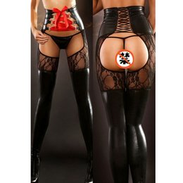 Wholesale Sexy Goth Punk - Wholesale- 2016 Women Sexy Black PVC Leggings Goth Fetish Faux Leather Lace Pants Cool Punk Rock Bright Light Leather Bandages Nightclubs