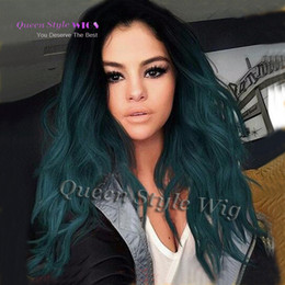 Wholesale Two Tone Synthetic Lace Wig - Selena Gomez Dark Blue Wig Two Tone Black Ombre Turquoise Teal Blue Green Synthetic Lace Front Wig Glueless Women Lace Front Wig