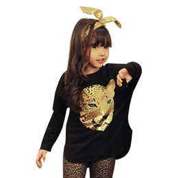 Wholesale Leggings Leopard Black - Wholesale- Retail 2017 Fashion Autumn Children Girls Clothing Sets Kids Girl 2pcs Leopard Suits Long sleeve T shirt + Leopard Leggings