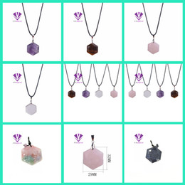 Wholesale Purple Jasper - Hot natural stone ornaments tiger eye stone agate turquoise opal powder crystal hexagonal necklace pendant necklace