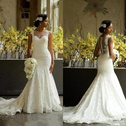 Wholesale Amazing Mermaid - Luxury African Mermaid Wedding Dresses 2017 Amazing Sheer Jewel Neck Back Covered Buttons Bridal Gowns Chapel Train Lace Wedding Gowns