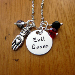 Wholesale White Snow - 12pcs lot Once Upon A time Inspired Necklace Evil Queen Villain Wicked Queen. Snow White Silver tone crystal