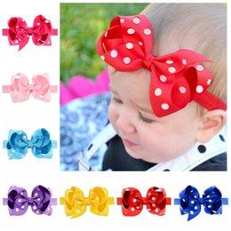 Wholesale Grossgrain Ribbons Bows - Wholesale 20Pcs Lot Baby Headband Dot Hair bows Elatic Girl Hair Band Hair Accesories Grossgrain Ribbon Toddler Kids Headwear 10cm