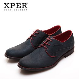 Wholesale Medium Size Wedding Dresses - Size 40~46 Brand XPER Casual Men Dress Shoes Lace-Up Wear Comfortable Men Wedding Shoes #YM86518BL BU