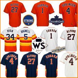 Wholesale Red Base - Men's 27 Jose Altuve 34 Nolan Ryan Jerseys 5 Jeff Bagwell 4 George Springer 7 Craig Biggio Cool Base jersey