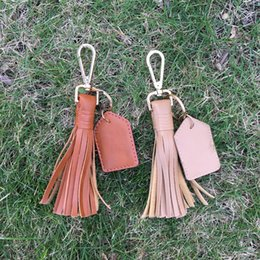 Wholesale Wholesale Key For Women - Flat Leather Tassel Key Fob Tie Up Tassle Keychain With Metal Bag Hook Bag Charm with One PU Tag for Monogramming DOM106427