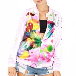 Wholesale Doe Animal - Fabrics and comfortable soft silk soft zipper hoody oil does not fade colorful painting 3dprint hoodie 3D print o-neck grils sexy sweatshirt