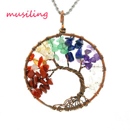 Wholesale Halloween Clothing Women - Geometric Round Life Tree Pendants Natural Stone Crystal Vintage Copper Plated Fashion Clothing Accessories Charms Women Mens Jewelry