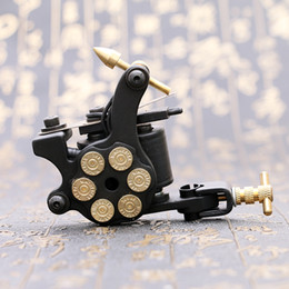 Wholesale 1pc Tattoo Frames - 1PC Professional Compass Black Tattoo Machine Shader & Liner Steel Frame Copper Coils Tattoo Gun TM2381