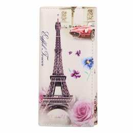 Wholesale Eiffel Tower Coin Bag - Wholesale- New Arrival Women Wallets Eiffel Tower Graffiti Embossed Long Purses Women's Clutch Bag Hasp Wallet Zipper pockets Card Hard