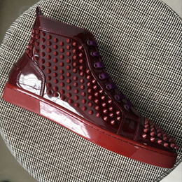Wholesale Mens Casual Shoes Buckles - New Arrival Mens Womens Winered Patent Leather With Spikes High Top Red Bottom Sneakers,Brand Casual Shoes 36-46 Drop Shipping