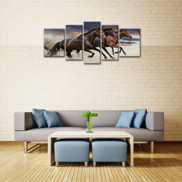 Wholesale Horse Picture Frames - 5 Pieces Canvas Paintings Three Fine Horses Running Animal Picture Prints with Wooden Framed Modern Artwork For Home Decoration
