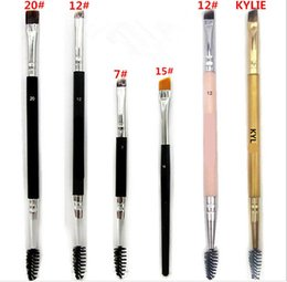 Wholesale Using Eye Shadow - Kylie Makeup Brushes Brush #7 #12 #15 #20 Double eyebrow Brush Head Gold Synthetic Professional eye shadow Use tool Hiqh Quality DHL Ship