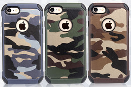 Wholesale military hard case - Military Camouflage For iPhone 7 Case Navy Army Camo Hard Plastic Cover + Soft TPU Armor Phone Case For iPhone 7 plus