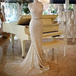 Wholesale V Neck Crystal Prom Dress - Shinning Sequined Mermaid Prom Dresses Long Sexy Spaghetti Sweep Train Mermaid Evening Gowns Cheap Custom Made Formal Wear Party Gowns