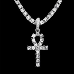 Wholesale Bling Cross Jewelry - Hip Hop Gold Silver Ankh Egyptian Jewelry Alloy Pendant Bling Rhinestone Crystal Key To Life Egypt Cross Necklace Chain