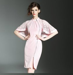 Wholesale Short Pink Night Dresses - New Summer Women's Fashion Lace Cloak Dresses Ladies Sexy Hollow Out Batwing Sleeve Party Dress Girls Lovely Poncho Dress