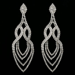 Wholesale Chandelier Water Drop Crystals - Top Quality Simple Spiral Shape Big Statement Earrings Female Bling Rhinestone Long Hanging Water Drop Earrings Pending Jewelry
