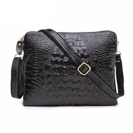 Wholesale Evening Bags Beige - Factory Sale 2017 Genuine Leather Women Clutch Vintage Crocodile Pattern Shoulder Bags Evening Party Messenger Bags