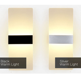 Wholesale Aluminum Wall Light - 10W LED Acrylic Wall Sconces Aluminum Lights Fixture On Off Decorative Lamps Night Light for Pathway Staircase Bedroom Bedside Aisle Lights