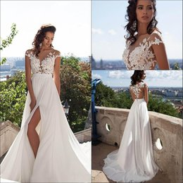 Wholesale Lace Neck Tops - 2016 Sexy Illusion Cap Sleeves Lace Top Chiffon A Line Wedding Dresses Tulle Lace Applique Split Summer Beach Bridal Gown With Buttons