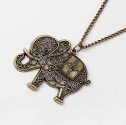 Wholesale Vintage Clothes Accessories - Wholesale-Europe & America Trendy Antique Hollow Out Elephant Pendant Chain Necklace(Bronze) Vintage Style Clothing Chain Accessories LS53