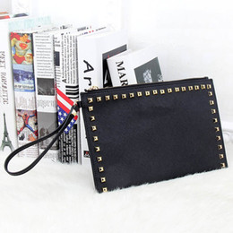 Wholesale Envelope Purse Clutch Pu - New Fashion Style PU Leather Handbag Famous Brand Retro Rivet Tote Bag Lady wallet Clutch Female Purse Evening Necessaries Bag