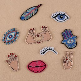 Wholesale Diy Fabric Accessories - 9PCS lot Mixed Patches For Clothing Iron On Embroidered Appliques DIY Apparel Accessories Patches For Clothing Fabric Badges