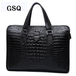Wholesale Genuine Crocodile Handbag Man - GSQ Genuine Leather Men Handbag Fashion Alligator Hot Men Bag High Quality Zipper Cow Leather Business Briefcase Men Bags G126-1